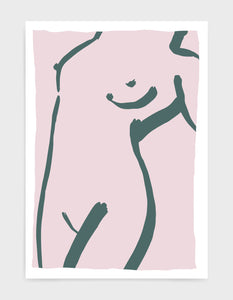 Grey brushstroke line drawing of a reclined female torso on a pink background