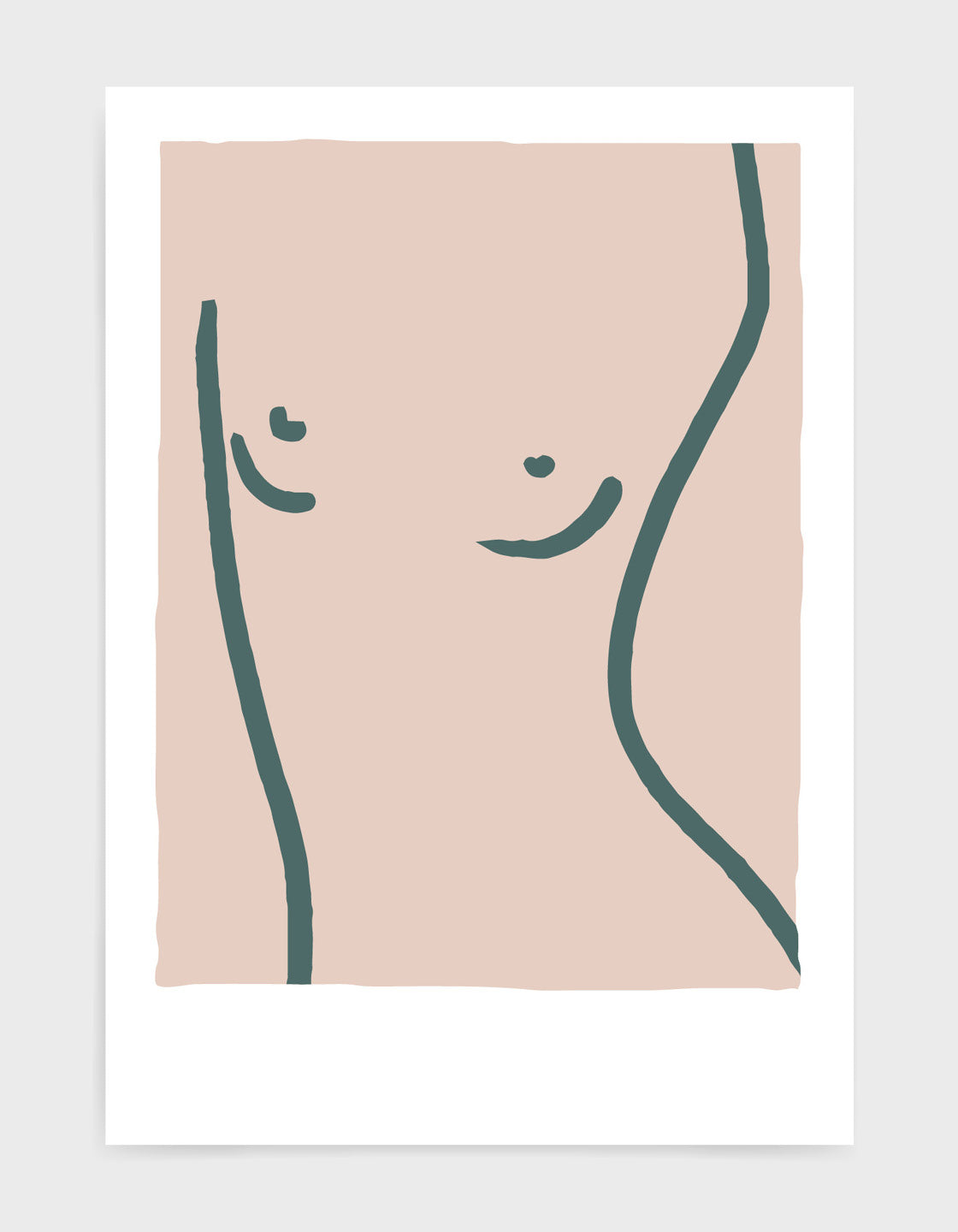 super simpl line drawing in grey against a pink background of a woman's torso and breasts