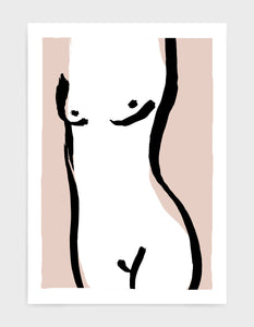 simple line drawing of a female nude body against a light pink background
