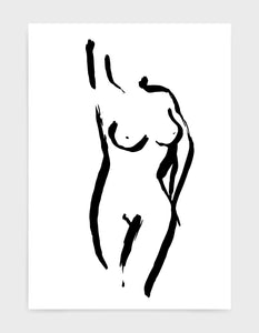 black line drawing of a nude woman in a pose with one arm over her head and another on her hip