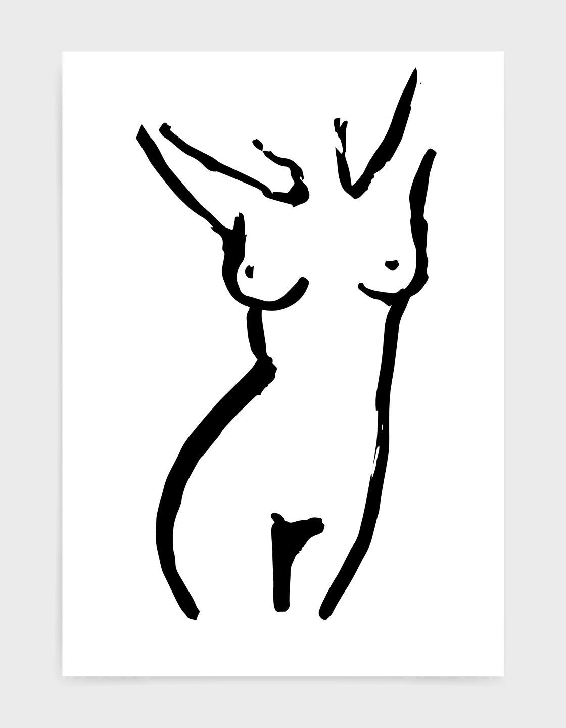 Monochrome line drawing of a female nude with hands behind her head