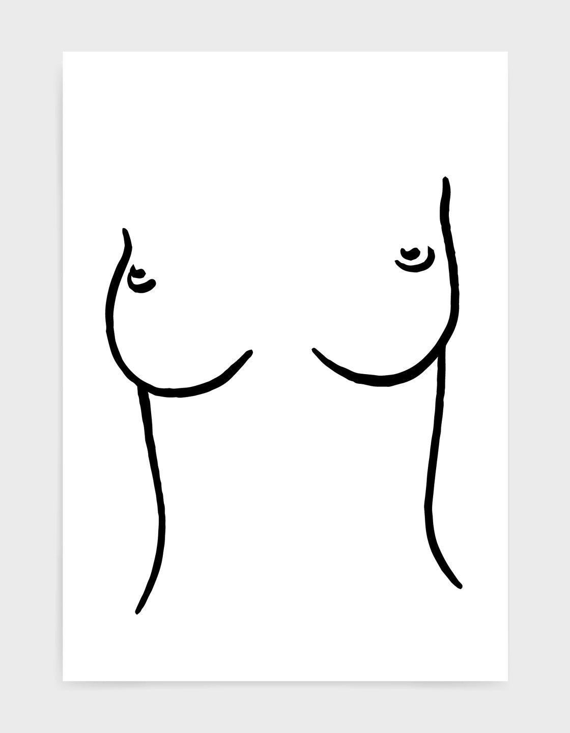 line drawing of a woman's torso and breasts