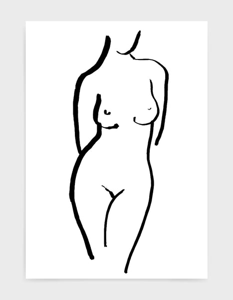 Monochrome art print of a female nude form standing with arms behind her back