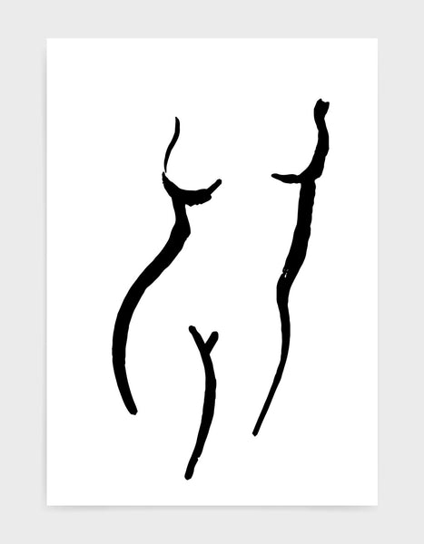 simple minimal black line drawing of a woman's torso against a white background