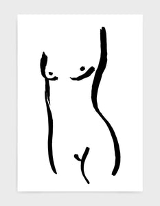 Minimal female nude line drawing on a white background