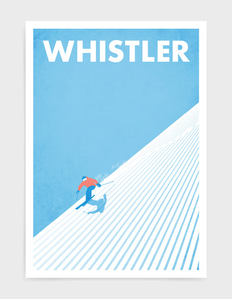 Fast downhill skier art print depicting person skiing down a mountain with blue sky behind
