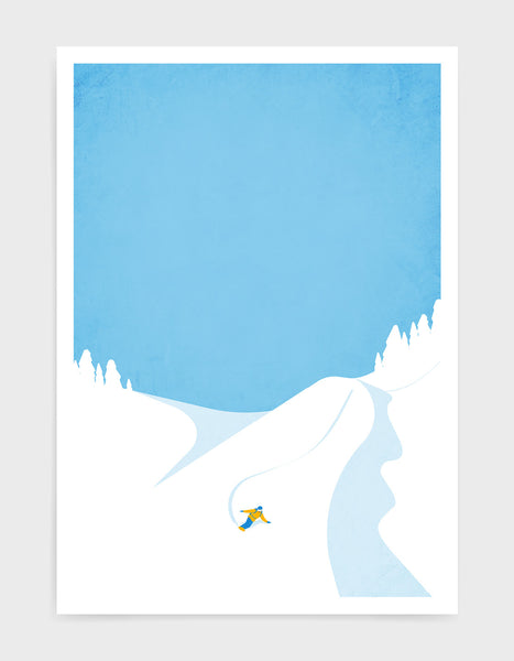 art print depicting a mountain and blue sky with a snowboarded coming fast down the mountainside