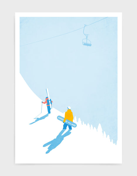 Vintage ski poster depicting a skier and snowboarder walking up the mountainside with a gondola overhead