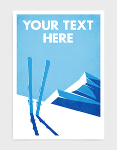 art print depicting a snowy mountain top and blue sky with a pair of skis sticking out of the snow