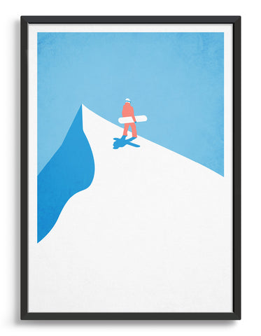 vintage style travel poster of a snowboarder standing at the top of a snowy mountain surrounded by blue sky
