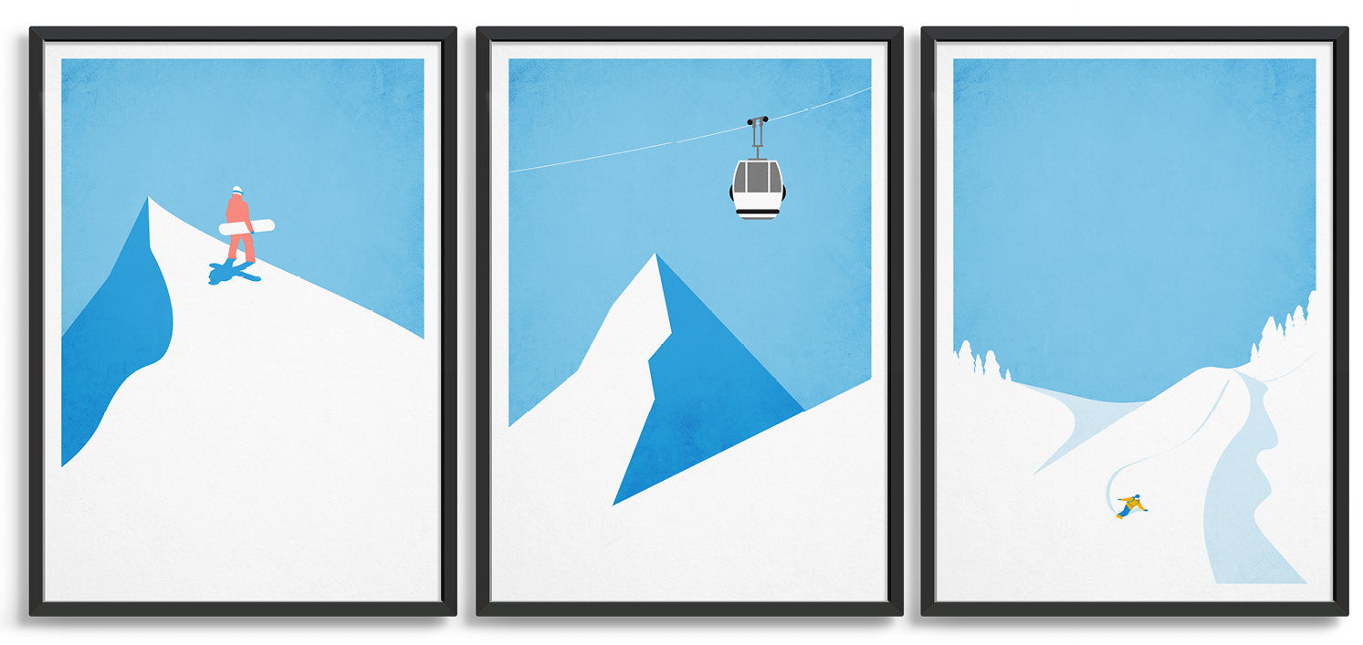 Snowboard gallery wall with poster trio of prints depicting a snowboarder on the mountain top, a gondola and a boarder carving down the mountainside