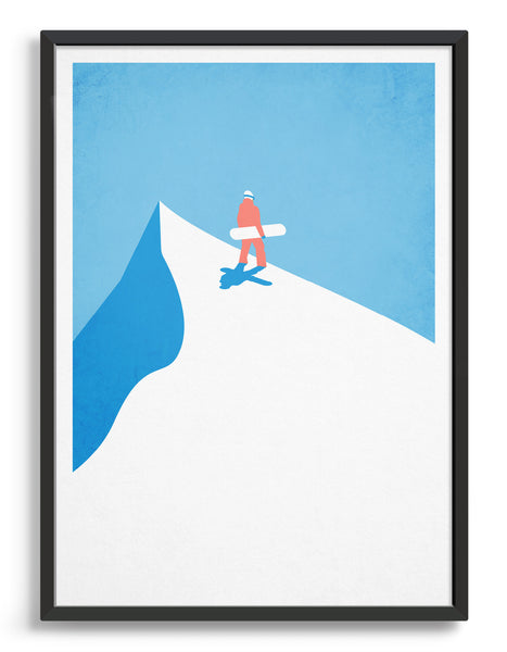 Vintage snowboard poster depicting a snowboarder at the top of a mountain carrying board