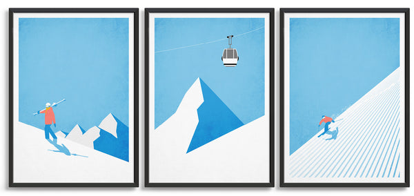 Trio of vintage ski posters depicting skier climbing the mountain, gondola against a blue sky and a skier carving down the mountainside
