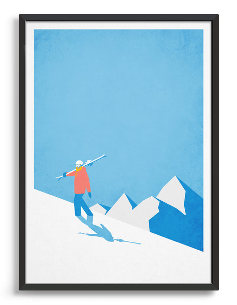 Poster depicting a skier carrying ski's up a mountain with blue sky in the background