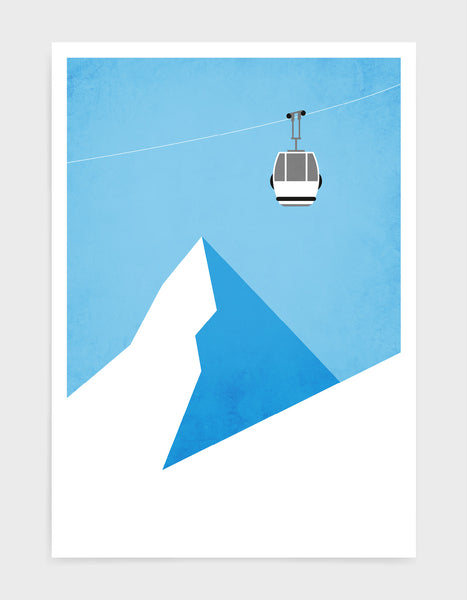 Poster depicting a gondola travelling over the mountain tops with blue sky behind