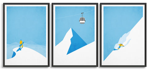 Gallery wall showing trio of snowboard poster depicting a snowboarder at the mountain top, gondola, and downhill boarder