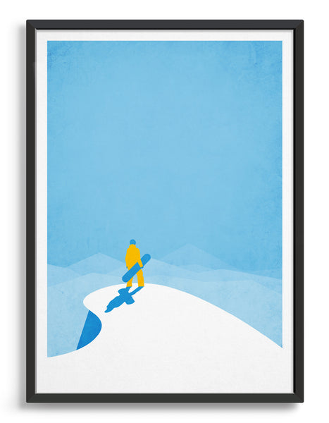 snowboard poster depicting boarder standing at the top of a mountain peak surrounded by blue sky