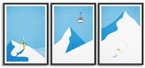 Ski poster gallery wall - trio of prints including off piste skier, gondola and downhill skier