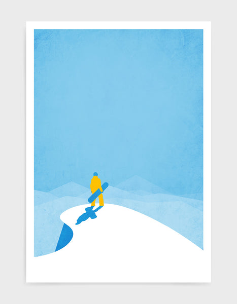 art print of a snowboarder standing at the top of a snowy mountain holding a snowboard