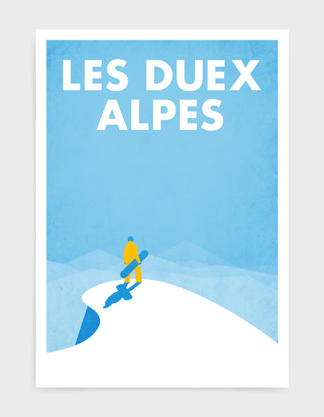 art print of a snowboarder standing at the top of a snowy mountain holding a snowboard. Image titled Les Deux Alps