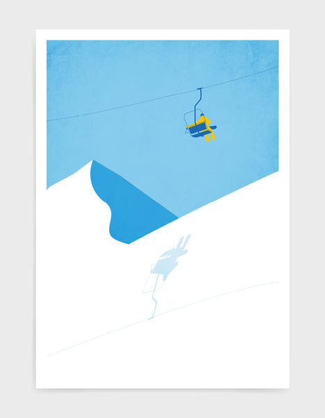 Art print of a chairlift ascending the mountain against a crisp blue sky
