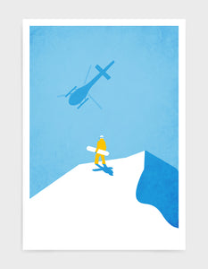 Framed art print of a snowboarder standing at the top of a snowy mountain holding a snowboard with a helicopter flying above