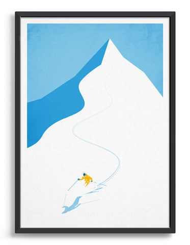 Art print of a skier descending snowy mountain terrain