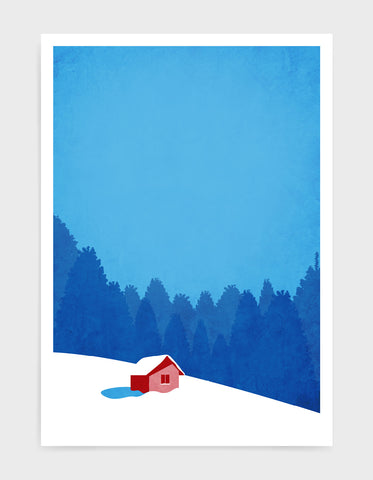 art print of a hut on a snowy mountain landscape