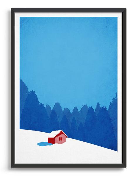 framed art print of a hut on a snowy mountain landscape