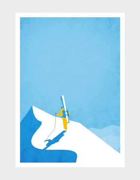 art print of a skier at the top of a snowy mountain