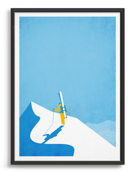 Framed Art print of a skier on top of a snowy mountain peak