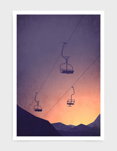 art print of a snowy mountain at sunset with chairlifts