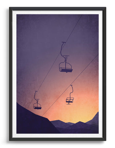 Framed art print of a snowy mountain at sunset with chairlifts