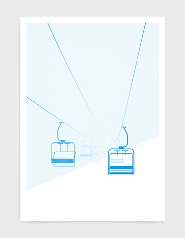 art print of mountain chairlift in a whiteout