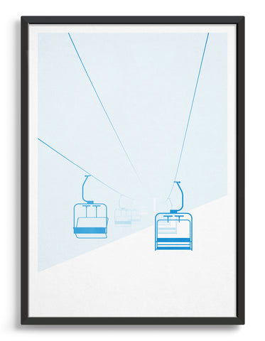framed art print of mountain chairlift in a whiteout