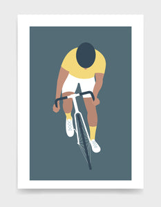 Modern art print showing a cyclist with his head down and standing up on the pedals. The cyclist is riding towards the viewer and has a yellow top and socks and white shorts