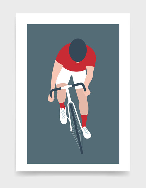 Modern art print showing a cyclist with his head down and standing up on the pedals. The cyclist is riding towards the viewer and has a red top and socks and white shorts