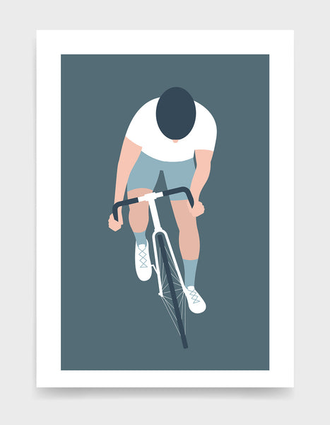 Modern art print showing a cyclist with his head down and standing up on the pedals. The cyclist is riding towards the viewer and has a white top and socks and white shorts
