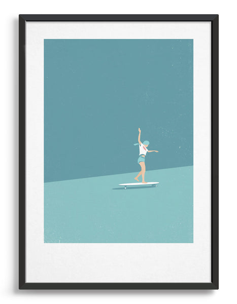 Art print featuring a young girl on a large skateboard hair flowing behind her. Minimal design with lots of blue tones