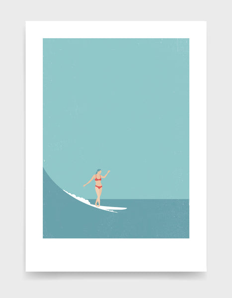 Girl in a red bikini surfs a wave against a blue sky and sea. Minimal style art print