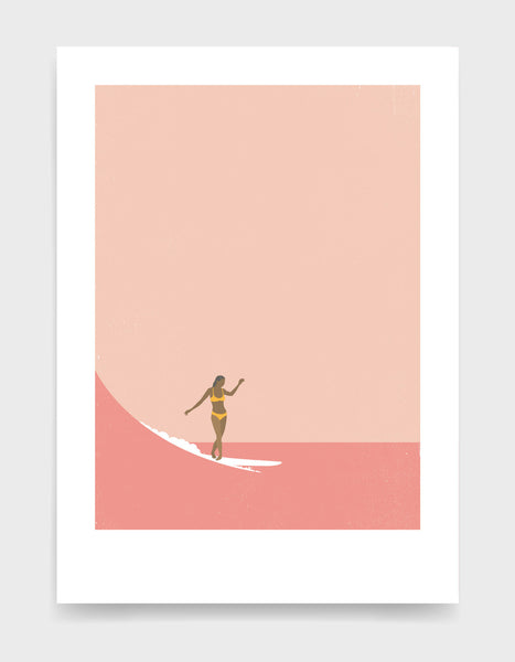 Girl in a yellow bikini surfs a wave against a pink sky and sea. Minimal style art print