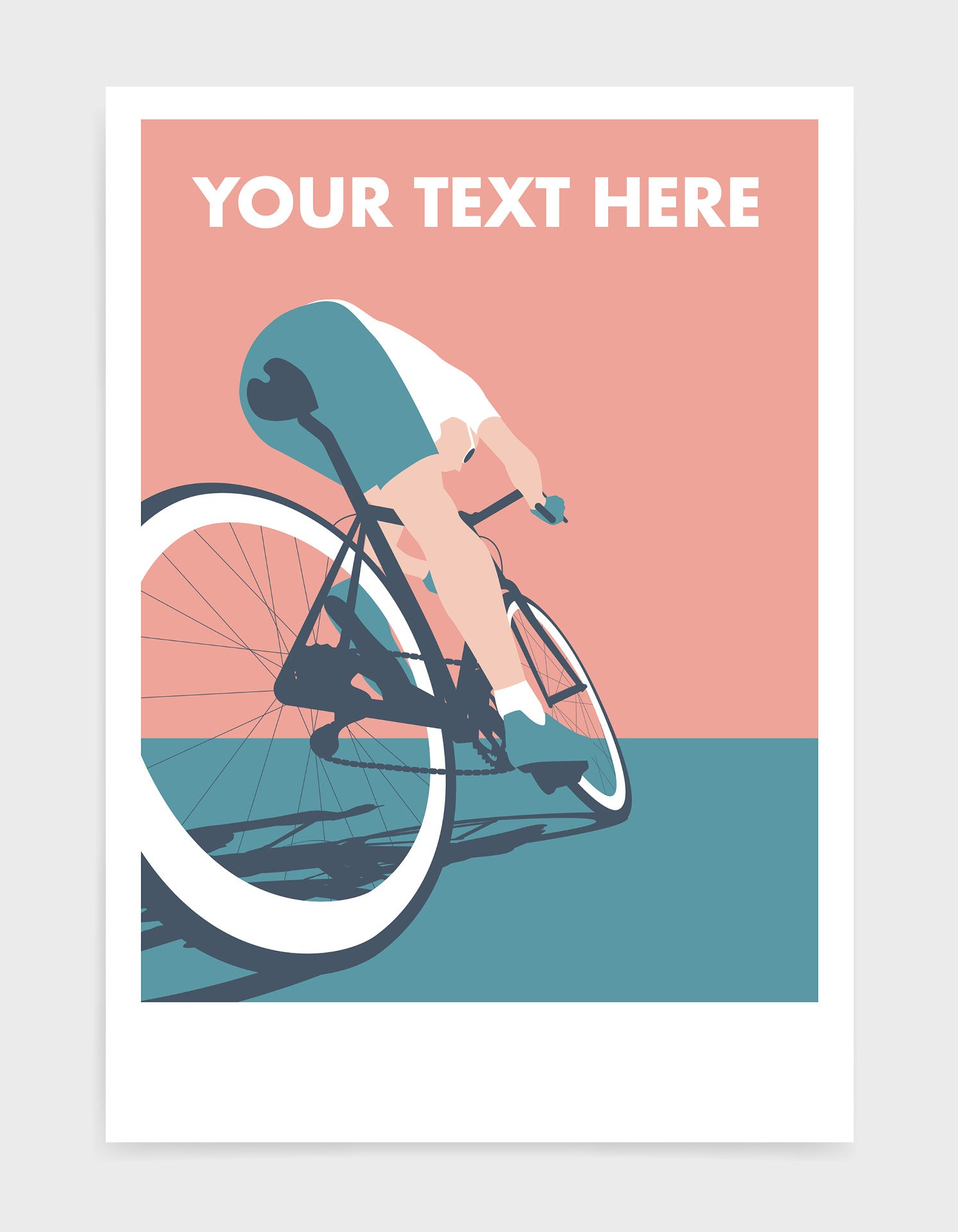 mid-century modern style cycling art print depicting a cyclist in pink and blue tones