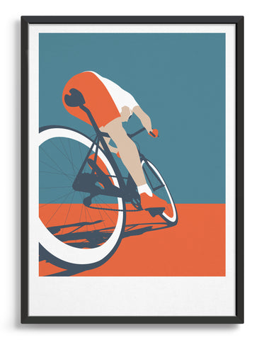 mid-century modern style cycling art print depicting a cyclist in orange and blue tones