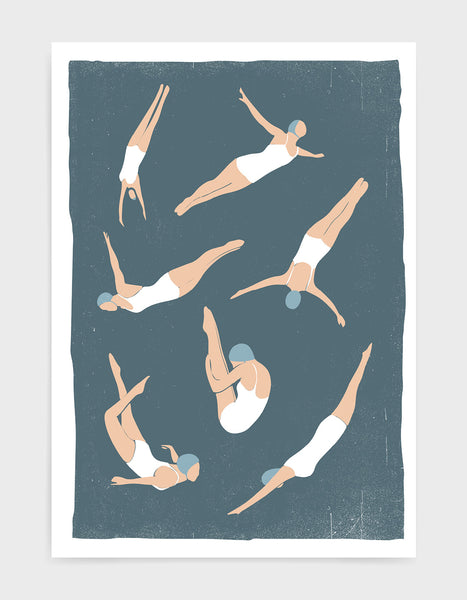 multi dive print on blue background