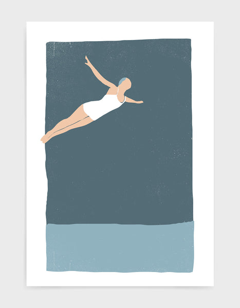 Woman in white swimsuit dives off a high board