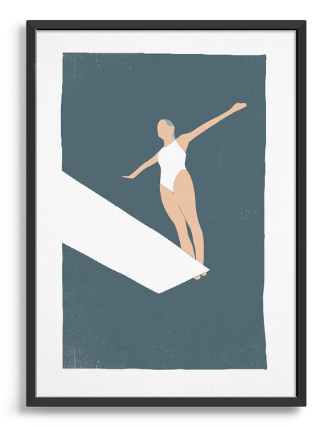 Woman in white swimsuit standing on the edge of a diving board with dark blue background
