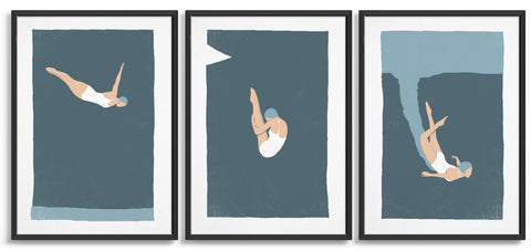 set of 3 vintage dive prints on a blue background