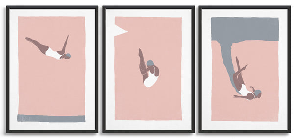 set of three vintage dive prints in pink and grey