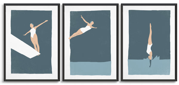 set of 3 diving woman print against a blue background