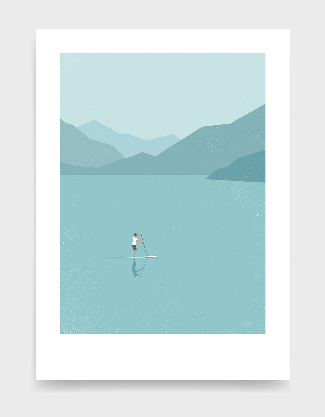 Man on a paddleboard on a vast lake surrounded by misty mountains. Minimal art print in blue hues, perfect for Scandi interiors